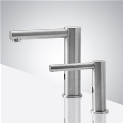 BathSelect Brushed Nickel Automatic Commercial Sensor Faucet And Matching Soap Dispenser