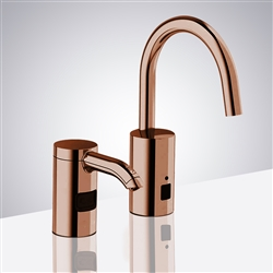 Rose Gold Automatic Commercial Sensor Kitchen Faucet And Matching Soap Dispenser