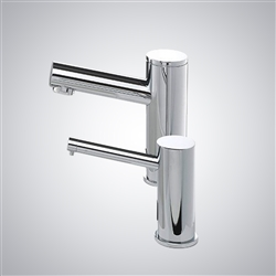 BathSelect Chrome Finish Freestanding Dual Automatic Commercial Sensor Faucet And Soap Dispenser
