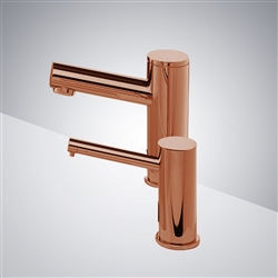 BathSelect Rose Gold Freestanding Dual Automatic Commercial Sensor Faucet And Soap Dispenser