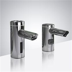 BathSelect Chrome Finish Automatic Commercial Sensor Faucet And Matching Soap Dispenser
