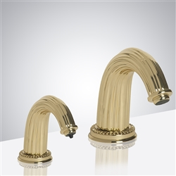 Venice Shiny Gold Finish Deck Mount Dual Commercial Sensor Faucet And Soap Dispenser With Horizontal Lines Design Over It