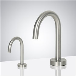 Luna Goose Neck Brushed Nickel Finish Freestanding Dual Commercial Sensor Faucet And Soap Dispenser