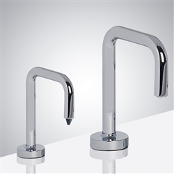 Reno Inverted U-Shaped Chrome Finish Freestanding Dual Commercial Sensor Faucet And Soap Dispenser