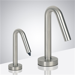 Lano Inverted V-Shaped Brushed Nickel Finish Freestanding Dual Commercial Sensor Faucet And Soap Dispenser