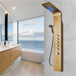 Primo Pulsating Massage Shower Panel Gold Plated