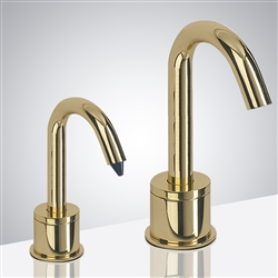 Wella Goose Neck Shiny Gold Finish Freestanding Dual Commercial Sensor Faucet And Soap Dispenser