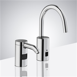 Chrome Finish Automatic Commercial Sensor Kitchen Faucet And Matching Soap Dispenser