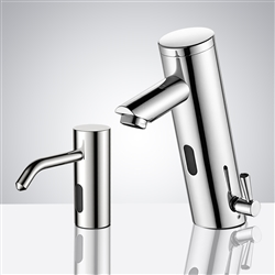 Solo BathSelect Chrome Finish Freestanding Dual Automatic Commercial Sensor Faucet And Soap Dispenser