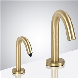 Naples Goose Neck Brushed Gold Finish Freestanding Dual Commercial Sensor Faucet And Soap Dispenser