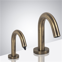 Naples Freestanding Antique Brass Finish Dual Commercial Sensor Faucet And Soap Dispenser