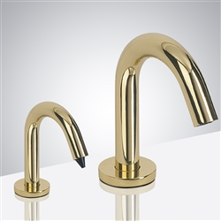 Naples Commercial Automatic Freestanding Shiny Gold Dual Commercial Sensor Faucet And Soap Dispenser