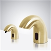 Luna Solid Brass  Brushed Gold Finish Deck Mount Dual Commercial Sensor Faucet And Soap Dispenser