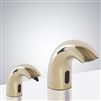 Olivo Contemporary Style Shiny Gold Finish Deck Mount Dual Commercial Sensor Faucet And Soap Dispenser
