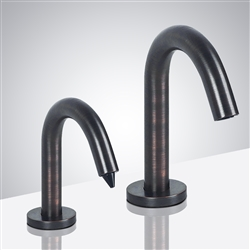 Touchless Goose Neck Commercial Contemporary Style Antique Bronze Finish Dual Sensor Faucet And Soap Dispenser