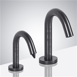 Trio Goose Neck Commercial Contemporary Style Antique Pewter Finish Dual Sensor Faucet And Soap Dispenser