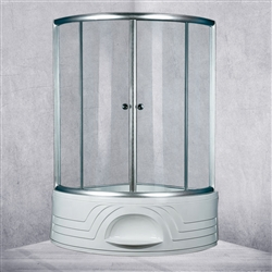 Double Door Sector Shape Open Component Shower Enclosure