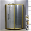 BathSelect Arc Shape Freestanding Bath Shower Enclosure In Gold Polished Frame