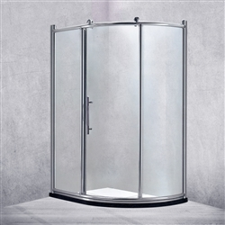 Freestanding Complete Sliding Door Bath Shower Enclosure With Chrome Polished Frame