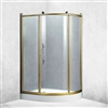BathSelect Aluminium Alloy Freestanding Bath Shower Enclosure In Bronze Polished Frame