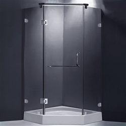 Frame-less Open Component Shower Enclosure With Hinges And Designer Handles