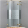 Designer Glass With Gold Finish Hinges Square Shaped Frame-less Adjustable Bath Shower Enclosure