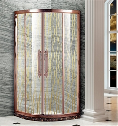 Contemporary Style Designer Glass With Bronze Finish Frame Luxury Bath Shower Enclosure