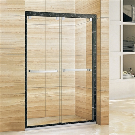 Double Door Aluminium Black Frame Sliding Shower Door With Horizontal Handle