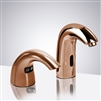Commercial Rose Gold Automatic Temperature Control Thermostatic Sensor Faucet with Soap Dispenser