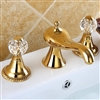 Bathroom widespread Lavatory Sink faucet crystal handles mixer tap Gold clour
