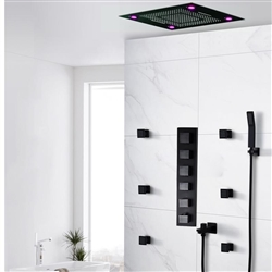 Recessed/ Ceiling Flushed Showerhead Lima Multi Color Water Powered Led Shower with Adjustable Body Jets and Mixer