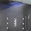 "Juno 24""LED Rain Shower Head Thermostatic Shower Valve Set"