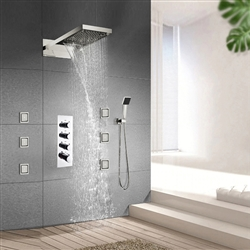 Waterfall and Rainfall Shower Faucet with Thermostatic Mixer Valve