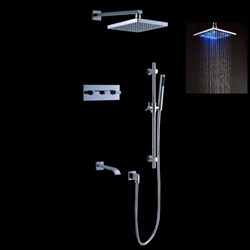 Details about  LED Wall Mount Rain Shower System