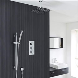 "Square Chrome Rain Shower System Faucet Set 2 Outlets 12"" Ceiling Head & Handset"