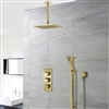 "Square Brushed Gold Rain Shower System Faucet Set 2 Outlets 12"" Ceiling Head & Handset"