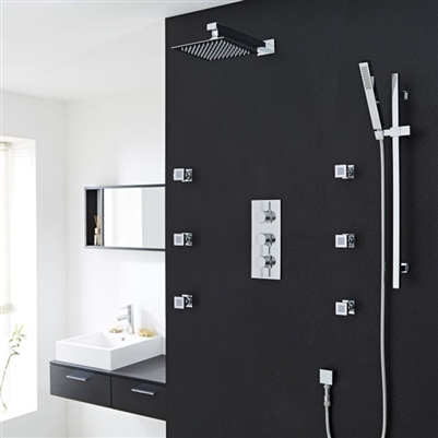 Lenox Chrome Thermostatic Shower System Set With Square Rain Head Handset 6 Jets