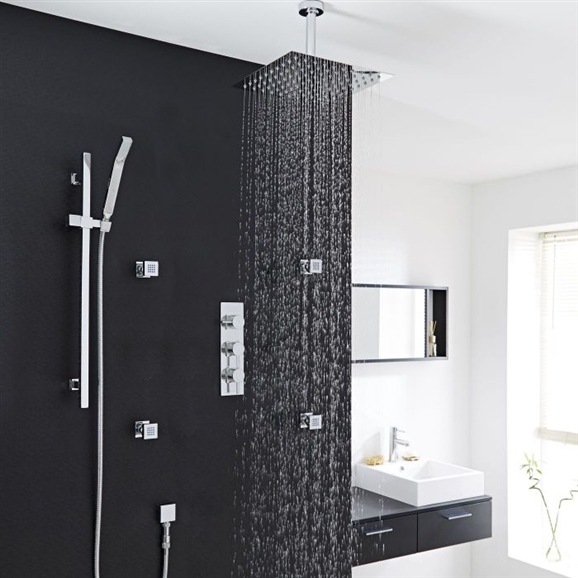 Beautiful Fontana Thermostatic Shower System Chrome With Rain Shower Head And 4 Jets