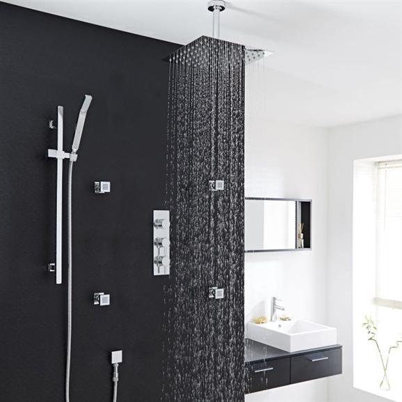 Buy Fontana Thermostatic Shower System Chrome With Rain Shower Head ...