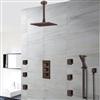 Soma Oil Rubbed Bronze Finish Thermostatic Shower Set Rain Head Multifunction Handset & 6 Jets