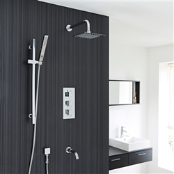 "Thermostatic Shower System Set With 8"" Square Rainfall Head Handspray Tub Filler"