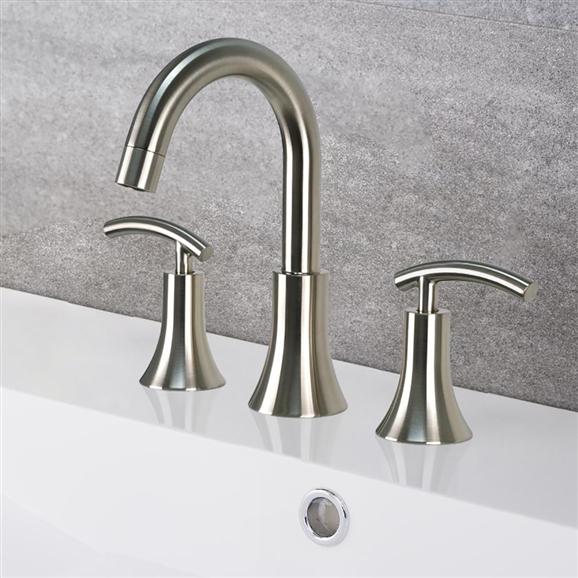 Créteil Brushed Nickel Bath Widespread Vanity Sink Faucet