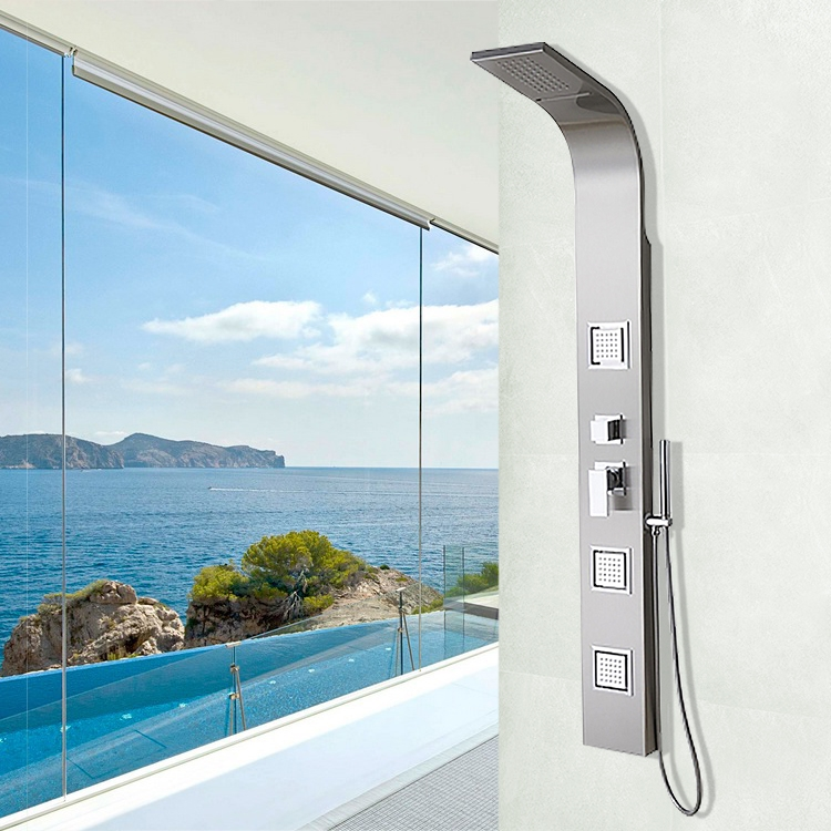 Lenox Stainless Steel Rainfall Waterfall Shower Panel with Pulsating Massage Body Sprays