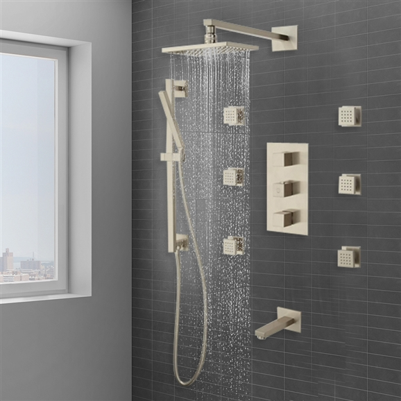 Onis Thermostatic Tub Shower System 6 Body Jets