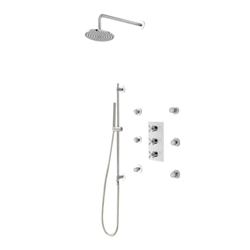 Lenno Thermostatic Shower System Hand Shower & 6 Body Jets