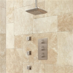 Monopoli Thermostatic Shower System in Brushed Nickel Finish