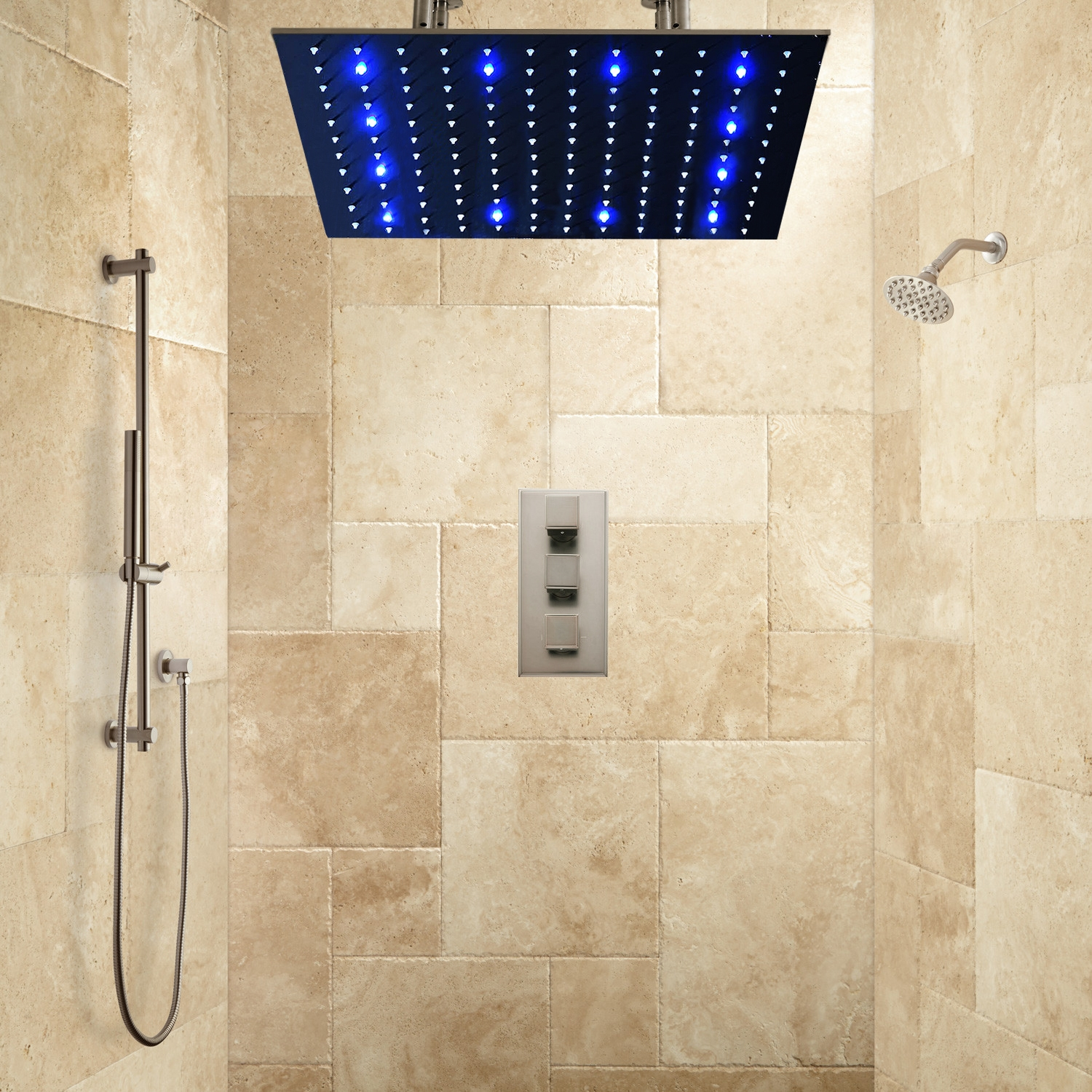 thermostatic shower system in brushed nickel finish