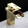 Gold Finish Waterfall Bathroom Sink Faucet Single Handle Basin Mixer Tap