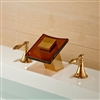 LED Color Glass Spout Bathroom Sink Faucet Widespread Mixer Tap Gold Finish