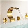 Wella Deck Mount Waterfall Sink Faucet Gold Finish